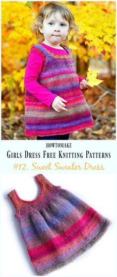 Sweet Sweater Dress Free Knitting Pattern - Little Girls #Dress Free #Knitting Patterns