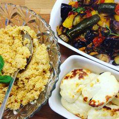 Roasted ratatouille and halloumi bake recipe Low Carb Recipes, Baking Recipes, Halloumi, Fast And Furious, Ratatouille, Family Meals, Roast, Chicken, Food
