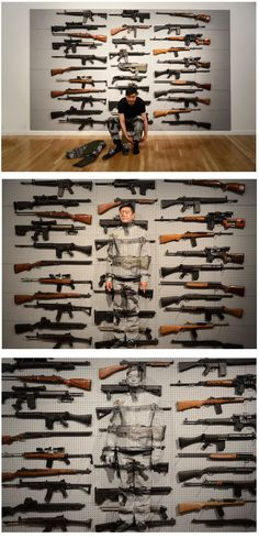 Liu Bolin's Gun Rack Performance Painting Art, Body Painting, Liu Bolin, Born In China, Chinese Contemporary Art, Master Of Fine Arts, Invisible Man, Bachelor Of Fine Arts, Weird Art