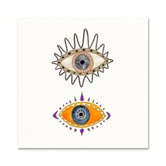 Evil Eye Illustration. Boho decor. Watercolor Evil Eye Art Print. Modern Bohemian Wall Art.