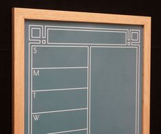 Green Art Deco Chalkboard Weekly Calendar / Weekly Meal Planner Whiteboard. Lovely Art Deco-inspired design and typeface!