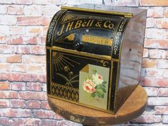 Antique J.H. Bell & Co Ginger Tin Advertising General Store Bin - Extremely Rare #JHBellCo