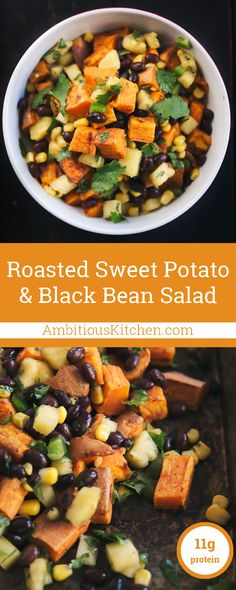 Best Healthy Recipes : Illustration Description Incredibly delicious vegan & gluten free black bean sweet potato salad with sweet pineapple & corn salsa. Eat the best, leave the rest ! Whole Food Recipes, Cooking Recipes, Healthy Recipes, Fall Vegetarian Recipes, Cooking Pasta, Cooking Tips, Snacking, Crunch, Salad With Sweet Potato