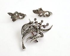 Sterling silver marcasite brooch and earrings set, mid century by CardCurios on Etsy Screw Back Earrings, Vintage Jewellery, Marcasite, Earring Set, Jewelry Sets, Handmade Items, Brooch, Sterling Silver, Stone