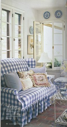 The Olde Barn: Going Coastal LOVE the blue/white buffalo check mixed with ticking stripes & florals -- pretty!