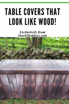 A unique table cover can completely change the look of your table decor. These fitted table covers have a true wood look to them, but are made from fabric. They also come in many designs. Exclusively from STACKDISPLAYS. Craft Show Table, Craft Show Ideas, Home Decor Colors, House Colors, Event Decor, Event Ideas, Vendor Events, Craft Show Displays, Display Design