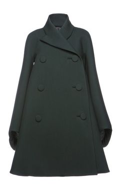 This **Dice Kayek** coat features a stand collar, a double-breasted button front, and a flared silhouette.