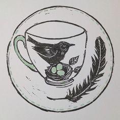 Always my favourite to print #blackbird #teacup #feather #linoprint #print #eggs