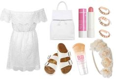 White lace dress, white sandals, pink lip, floral headband, rose gold rings