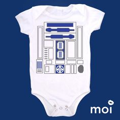 Organic Cotton: Mock Star Wars R2D2 Baby Bodysuit by MoiLLC! Star Wars, R2D2, Funny, Cute, Baby, Onesie, Bodysuit, Gifts, Shower