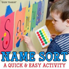 Name Sort: A quick and easy name recognition activity using dot stickers. A fun toddler activity, a great preschool activity; easy indoor activity for toddlers; a perfect learning your name activity - Busy Toddler Letter Learning Games, Name Activities Preschool, Fun Activities For Toddlers, Toddler Learning Activities, Letter Activities, Fun Learning, Montessori Toddler, Montessori Bedroom, Toddler Play