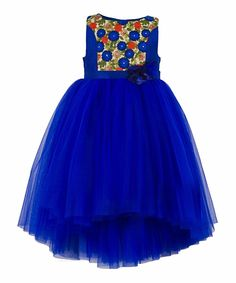 Blue embroidered hi-low party dress. Hi-Low skirt pattern Cotton lining at the bodice for skin comfort Embroidered Fabric at the Front bodice Satin Sash belt Tie-Up for easy wearing & better fitting Button opening at the Back