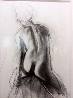 """Ernest Pignon Ernest - Street Art - Parcours Desnos """"Louise Lame"""" étude 1 2011, pierre noire sur papier"""