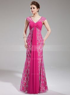 Sheath/Column V-neck Watteau Train Chiffon Lace Prom Dress With Ruffle Beading (018019769) $226.99 Prom Dresses