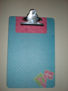small clipboard, scrapbook paper and modge podge