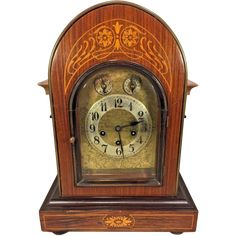 Antique Junghans Rosewood Bracket Clock Inlaid Veneer Wood Westminster Chimes Runs Chimes & Strikes  Missing 1 Foot