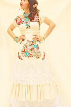 Pajaritos del amor Mexican wedding dress crochet lace ruffled maxi dress