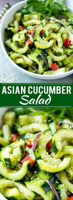Try this Asian cucumber salad paired with an easy and delicious Chinese food dinner! #WokWednesday #sponsored