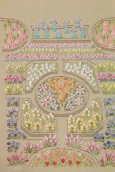 PDF Pattern tutorial of My garden hand No.14 embroidery stitch come with guide color number