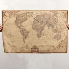 World map antique style poster 36x24 want to know more click details about retro map of the world vintage style world map wall poster home decor 28 x 18 gumiabroncs Gallery
