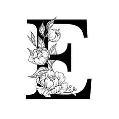 Designs Discover B Botanical Monogram. Detailed Peony Drawing Sticker by epine Hand Lettering Alphabet, Alphabet Art, Letter Art, Embroidery Alphabet, Flower Letters, Monogram Letters, Peony Illustration, Peony Drawing, Framed Art Prints
