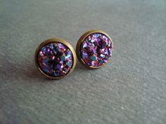 titanium druzy stud earrings by girlsewcute on Etsy