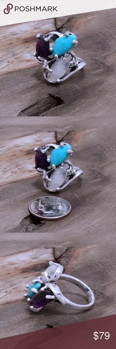 """950 Sterling, Amethyst, Moonstone & Turquoise Ring Stamped """"950"""". Higher Sterling finess than 925 This is not a stock photo. The image is of the actual article that is being sold. Sterling silver is an alloy of silver containing 92.5% by mass of silver and 7.5% by mass of other mThe sterling silver standard has a minimum millesimal fineness of 925. The fitness on this ring is 950. All my jewelry is solid sterling silver. I do not plate. crafted in Taxco, Mexico. Jewelry Rings"""