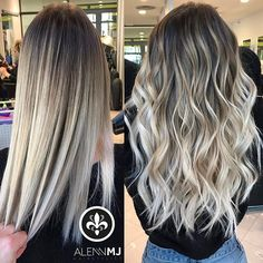 Work 🎨✂️ 1 vs 2?? ⬇️ 🙏🏻 Blonde Hair Looks, Balayage Hair Blonde, Pinterest Hair, Ombre Hair Color, Hair Colors, Hair Highlights, Dyed Hair, Hair Inspiration, Curly Hair Styles