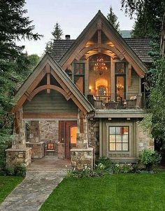 House design exterior cottage 28 Ideas for 2019 Small Cottage Homes, Cozy Cottage, Cottage Ideas, Rustic Cottage, Small Rustic House, Tudor Cottage, Cozy Cabin, Stone Cottage Homes, Small Cottage House Plans
