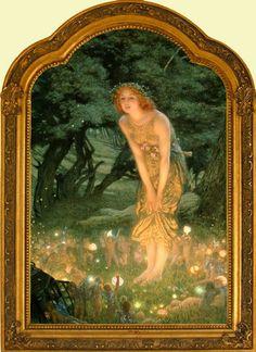 Mid Summer's Eve, Edward Robert Hughes, framed
