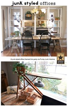 22+ JUNK STYLED OFFICES and accessories - a themed link party via Funky Junk Interiors
