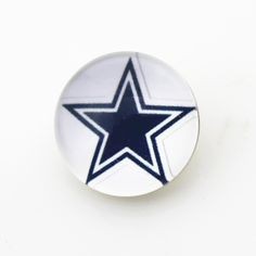 50pcs 18mm Glass NFL Team Dallas Cowboys Ginger Snap Buttons Charms For Snap Button Bracelet DIY Jewelry
