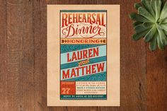 Vintage Sign Rehearsal Dinner Invitations by Laura Bolter Design at minted.com