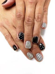 Black and white nails. Polka dot nails and stripes. #PreciousPhan
