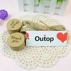 Outop 100PCS Thank You Wedding Brown Kraft Paper Tag Bonbonniere Favor Gift Tags With Jute Twines