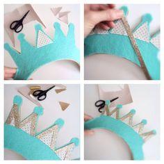 how to make a fondant crown Diy Birthday Crown, Half Birthday Baby, Wild One Birthday Party, Crown Crafts, Diy Crown, Felt Crafts, Diy And Crafts, Crafts For Kids, Fondant Crown