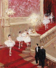 Jules René HERVÉ (1887-1981) Ballerines dans le grand escalier. Huile sur carto