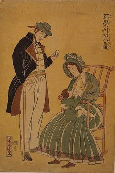 "A husband stands nearby while his wife breastfeeds an infant in ""Amerikajin no zu"" (Portrait of Americans) by Yoshitora Utagawa"