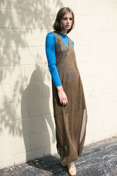 Pari Desai - Azure Nina Raglan Crew & Bronze Metallic Gala Column Dress | BONA DRAG