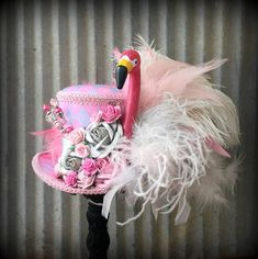 Your place to buy and sell all things handmade Crazy Hat Day, Crazy Hats, Flamingo Art, Pink Flamingos, Flamingo Tattoo, Hat Decoration, Decorations, Madd Hatter, Silly Hats