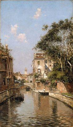 """""""Canal in Venice"""" by Antonio Reyna Manescau, Oil on canvas. Boston Museum of Fine Arts. Antonio María de la Concepción Reyna Manescau (Coín (Málaga), 5 de diciembre de 1859 - Roma, 3 de febrero de 1937, llamado El Pintor de Venecia"""
