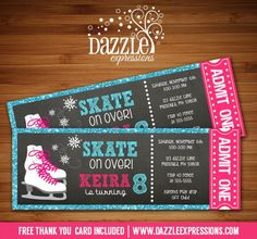 Printable Chalkboard Glitter Ice Skating Ticket Birthday Invitation - Girl Winter Party - FREE thank you card included Printable Glitter Chalkboard Ice Skating Ticket Birthday Invitation Ice Skating Party, Skate Party, Havanna Party, Free Thank You Cards, Glitter Birthday, Son Luna, 8th Birthday, Birthday Ideas, Birthday Invitations
