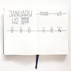 Bullet journal weekly layout, minimalist bullet journal weekly layout, weekly task tracker. | @flyingpaperwords #diary