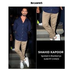 Spotted Blackberrys Urban Slim-Fit Chinos on Shahid Kapoor. Shop now at www.blackberrys.com .