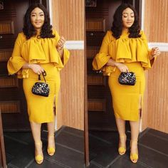 4 Factors to Consider when Shopping for African Fashion – Designer Fashion Tips Dressy Outfits, Chic Outfits, Fashion Outfits, Office Outfits, Fashion Clothes, Women's Fashion, African Lace Dresses, African Fashion Dresses, Yellow Flower Girl Dresses