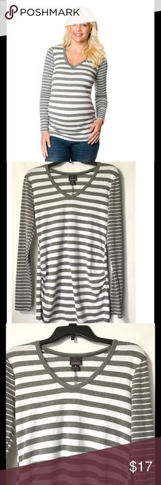 """🆕 Oh Baby by Motherhood Long Sleeve Maternity Tee Gray and White striped Long sleeve tee by Oh Baby. V-Neck. Cotton/Polyester. Ruched sides for comfortable fit. Oh baby size chart: M ( 8-10) chest 38-39"""", L ( 12-14) chest 40-41"""". Please order pre-pregnancy size. Brand new with tags. Oh Baby by Motherhood Tops Tees - Long Sleeve"""