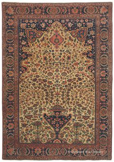"Ferahan Sarouk ""Vase Rug,"" 4ft 5in x 6ft 3in, Circa 1850. Drawn with an extraordinary sense of movement in its fluidly rendered botanical vinery, this consummately crafted, quite early collector's antique rug is a best-of-the-best representative of the elite Ferahan Sarouk ""Vase Rug"" sub-style. Its level of craftsmanship and finesse is exceedingly rare even among top-tier examples of prized Ferahan rugs. The movement of the vinery evokes the rhythm of a whirling dervish just beginning to…"