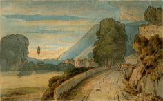 Francis Towne - Travelers on a Country Road in a Mountainous Landscape: at Keswick Looking Towards Skiddaw, 1786