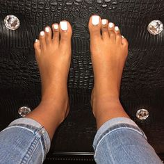 omgeeeeezuh who's feet's is that? Oh wait they're my bomb ass feets! Toe Nails White, Acrylic Toe Nails, Pretty Toe Nails, Cute Toe Nails, Pretty Toes, Pretty Pedicures, White Pedicure, Foot Pedicure, Nice Toes