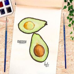 Wanted to try an avocado  What do you think? How do you eat your avocado? . Check my stories if you want a free wallpaper for your phone  . #watercolor #avocado #baspetter . #foodporn #watercolorfood #foodillustration #botanical #fruity #artwork #artist #ink #avocados #paint #avocadolover #avocadolovers #winsornewton #creative #moleskine #watercolorfood #drawings #paintings #graphicdesign #sketchbook #colour #sketchaday #colorful #doodle #botanicallinedrawing #foodie #foodblogger